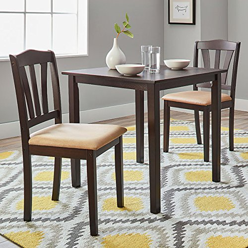 3-Piece Modern Style Attractive And Soft To Touch Montego Square Solid Rubberwood Dining Set