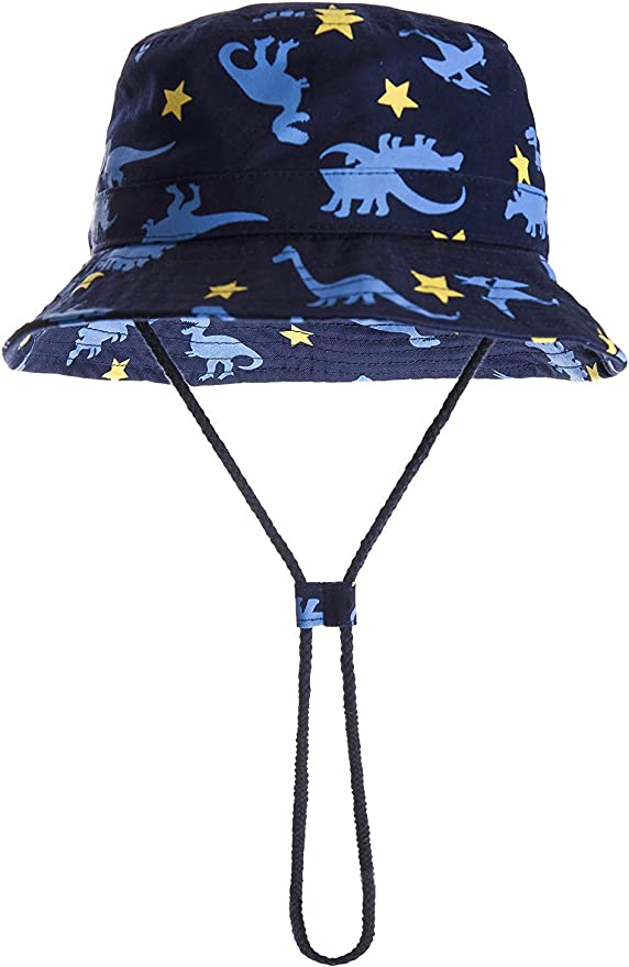 Achiyi Baby Boys Girls Adjustable Sunhat UV Protection Outdoor Bucket Fishermen Cap with Chin Strap Wide Brim