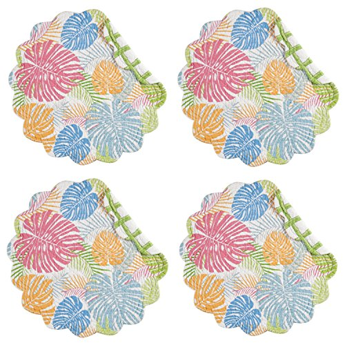 [Palm Beach Palm Fronds Quilted Round Scalloped Placemats Set of 4] (Palm Frond Placemat)