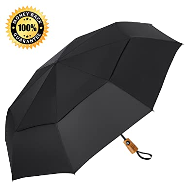 Runbox Travel Umbrella55u0026quot; Extra Large Double Canopy Automatic Compact Wooden Handle Golf Umbrellas  sc 1 st  Amazon.com : large canopy umbrella - memphite.com
