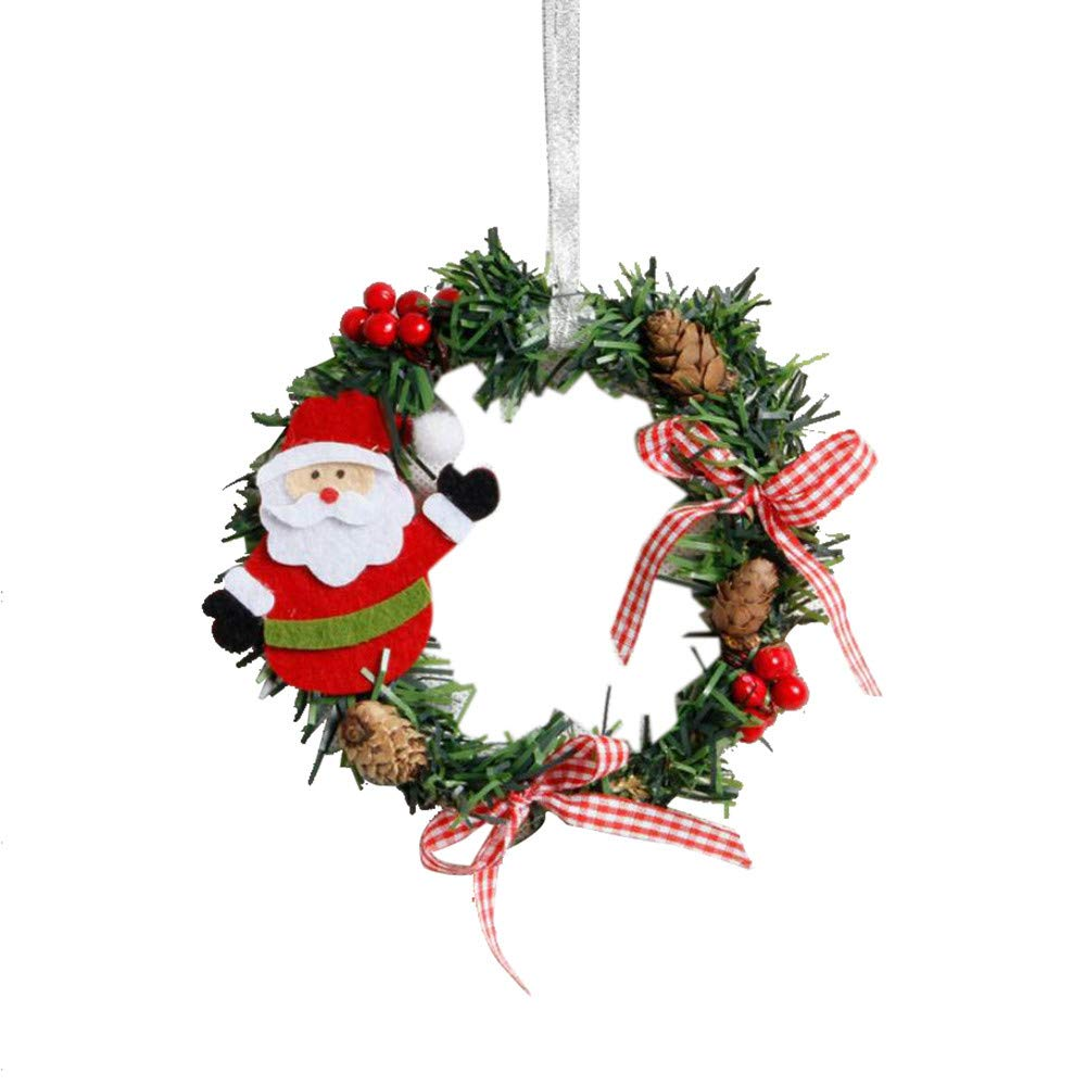 2018!!Garland Xmas Party Decor,Mini Christmas Wreath Wall Door Ornament (A)