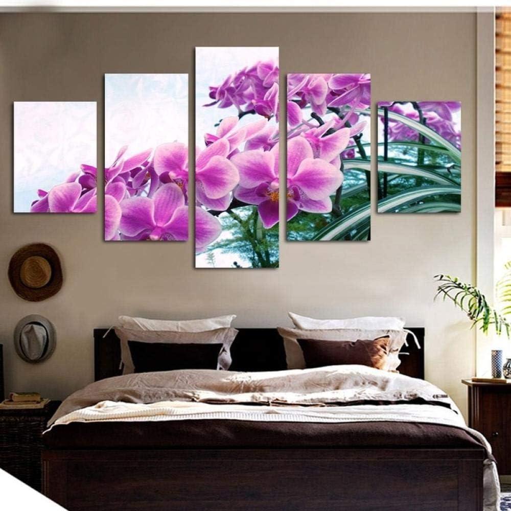 Anytumep Quadro Decorativo Moderno Spray Quadro su Tela Cinque Fiori Farfalla Poster e Stampe su Tela Stampe su Tela 20x35cmx2 20x45cmx2 20x55cm