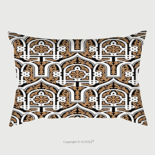 Custom Satin Pillowcase Protector Morocco Seamless Pattern Traditional Arabic Islamic Background Mosque Decoration Element Ocher 352423439 Pillow Case Covers Decorative by chaoran