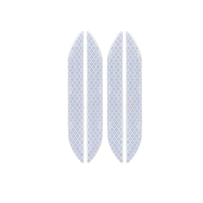 LOCEN Universal Car Reflective Strips,Wheel Eyebow Warning Safety Reflector Sticker, U-Type Door Edge Protection for Vehicle Household Appliances Truck - 4 Packs - White: Automotive