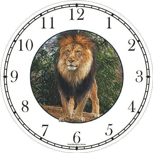 Male Lion Standing JP6 Wall Clock by WatchBuddy Timepieces Hunter Green Frame