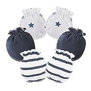 HaloVa Baby Gloves, 0-3 months Newborn Infant Toddler Boys Girls No Scratch Mittens, 100% Cotton, Soft and Comfortable, Dark Blue