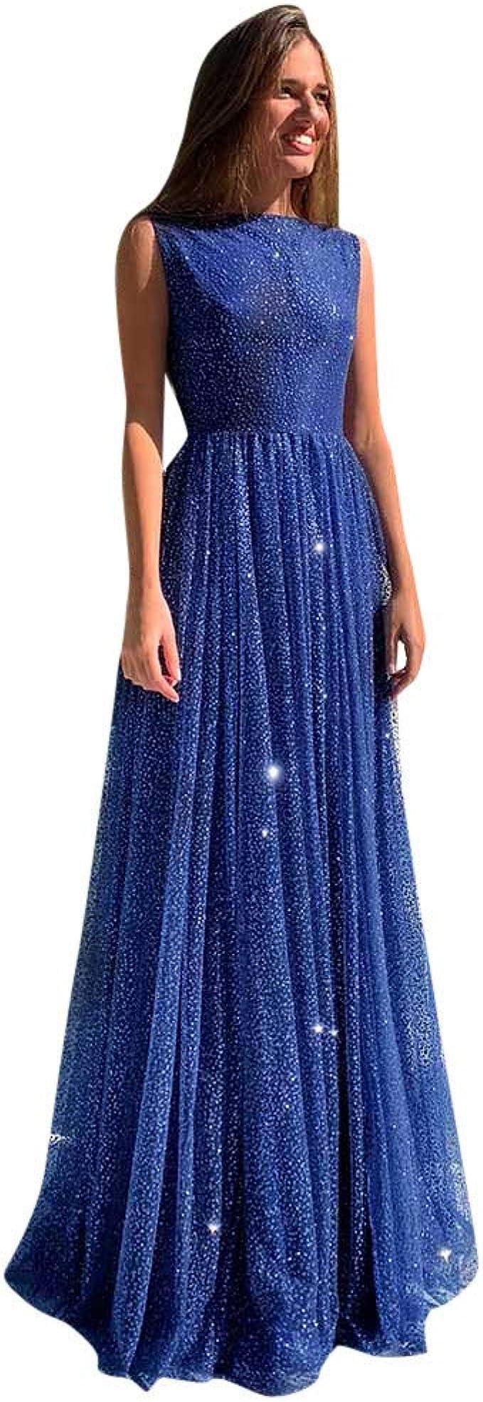 SHINEHUA Damen Blaues Kleid Glitter Lange Ballkleid Glitzer Kleid
