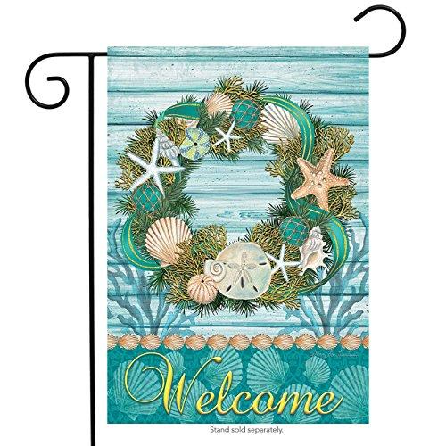 Coastal Wreath Summer Garden Flag Welcome Nautical Shells 12.5
