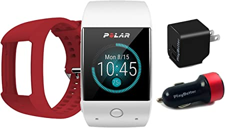 Polar M600 White GPS Watch BUNDLE with Extra Band Red PlayBetter Wall Car USB Charging Adapters Sports GPS Smartwatch with Wrist-Based Heart Rate