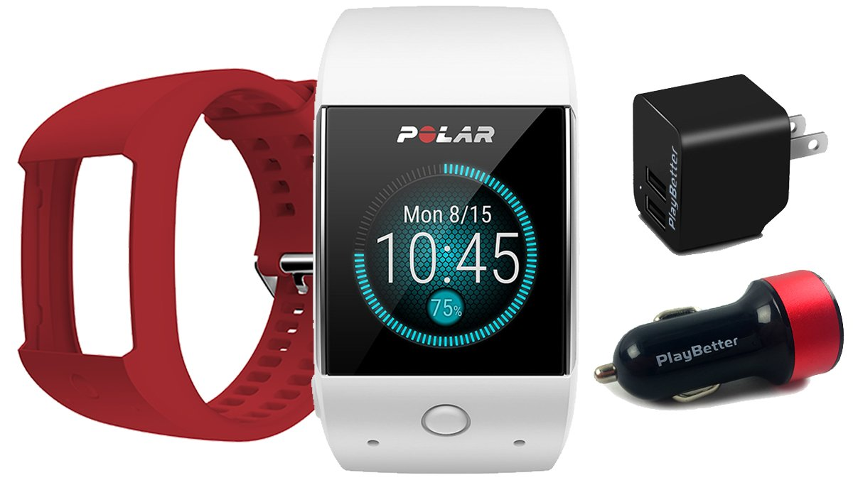 Polar M600 (White) GPS Watch BUNDLE with Extra Band (Red) & PlayBetter Wall/Car USB Charging Adapters | Sports GPS Smartwatch with Wrist-Based Heart Rate