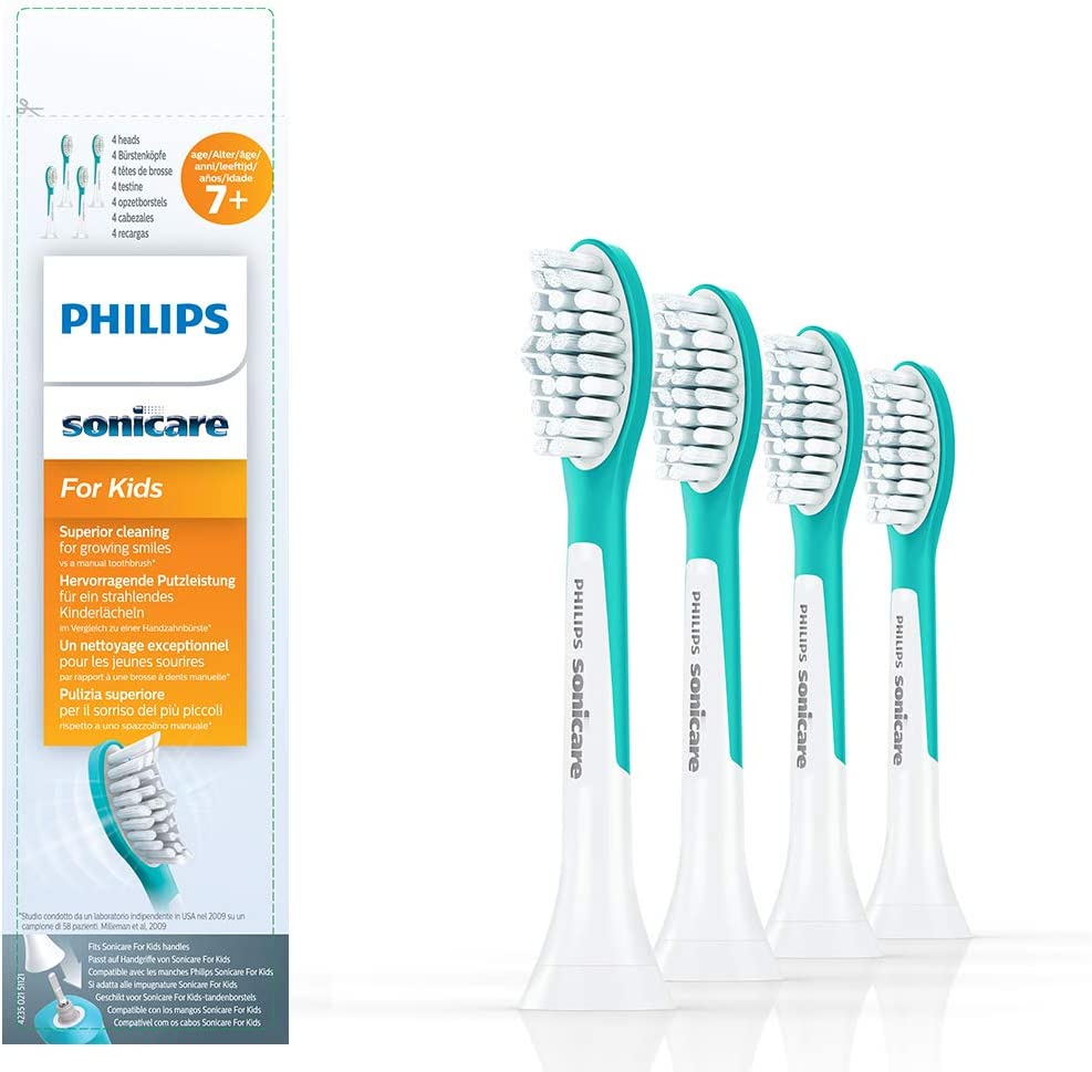 Philips Sonicare for Kids replacement toothbrush heads, HX6044/33, 4-pk, Standard