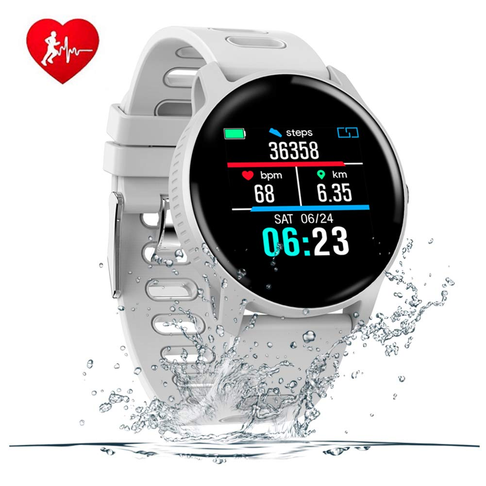 SENBONO Fitness Tracker Bluetooth Smart Watch, Activity Tracker with Heart Rate Monitor for Android/iOS, IP68 Waterproof Smart Watch Bracelet Wristband Pedometer Watch for Kids Women Men (White)