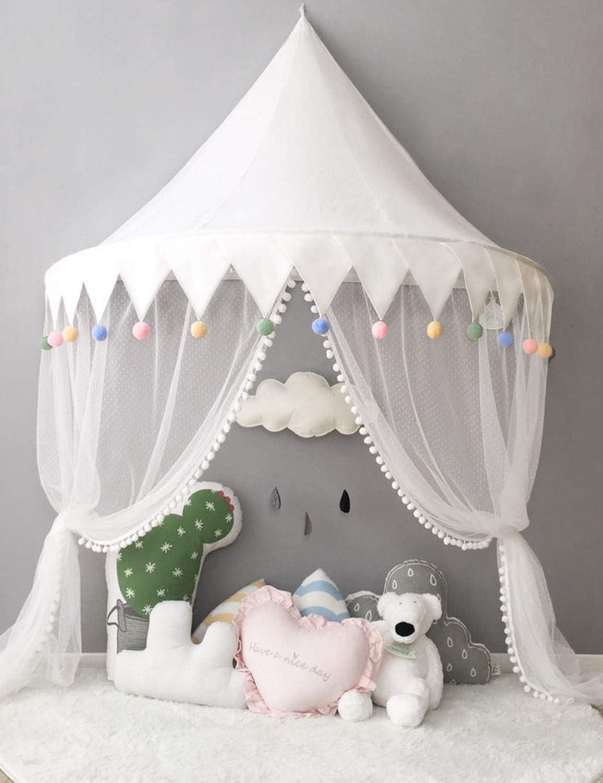 Pinji Moustiquaire Ciel de Lit Forme D/ôme Pop-Up Baldaquin Tente en Polyester avec Double Porte Rose 200x120cm S