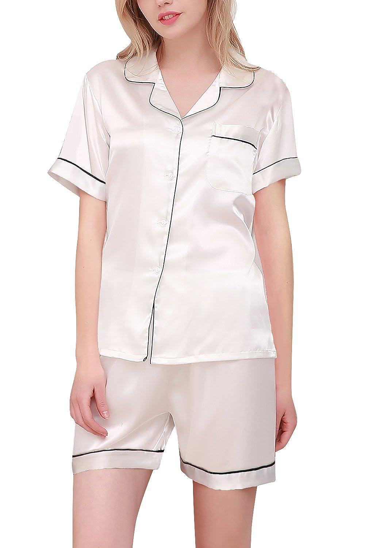 TALLA M. Dolamen Pijamas Camisón para Mujer, Mujer Corto Camisones Raso Satin Parejas Pijamas, lencería Collar de botón con Botones Satén Neglige Lencería Ropa de Dormir