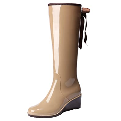 Women's Wedge Knee High/Mid Calf Rain Boots Bow-Tie Side Zipper Waterproof Shoes Wellies