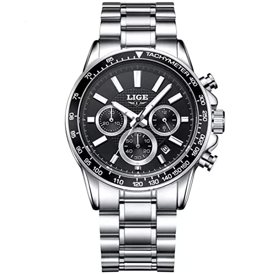 Relojes de Hombre Reloj Cronógrafo De Cuarzo De Moda para Caballero Caja de Acero Inoxidable RE0091