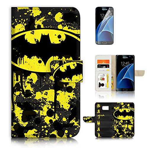 Samsung Galaxy S7 Flip Wallet Case Cover & Screen Protector Bundle! A6240 Batman