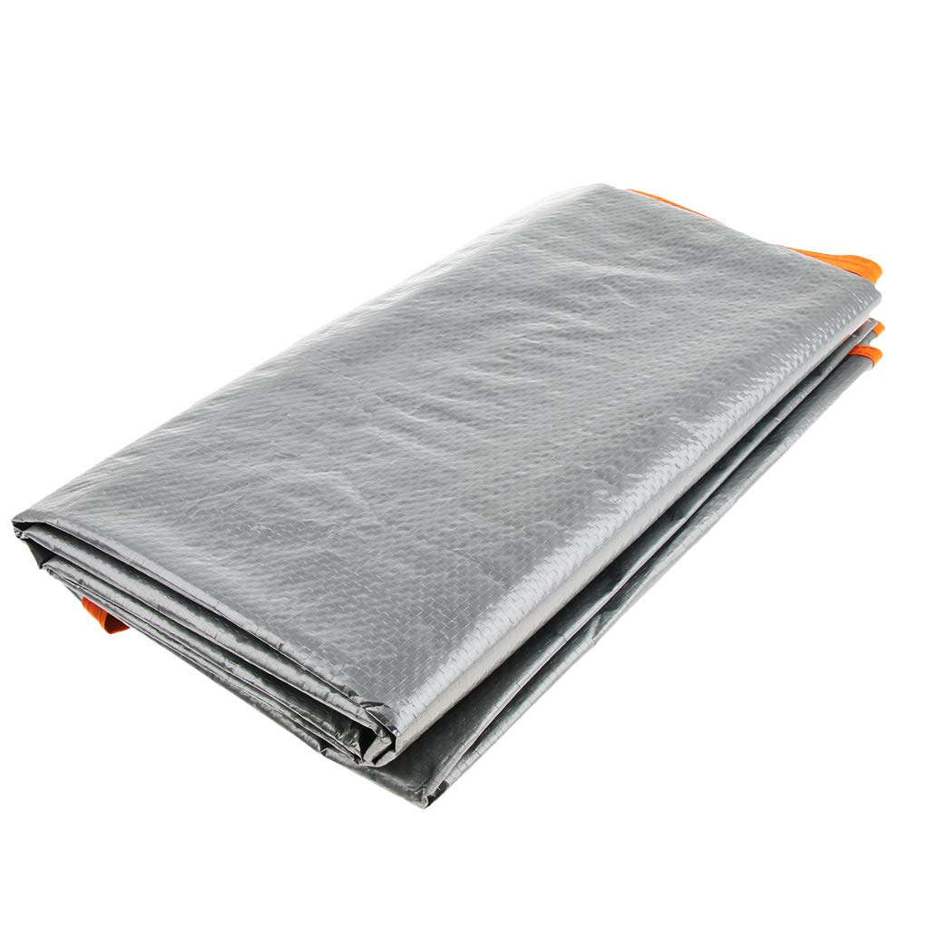 F Fityle Tapis de Pique-Nique Bâche de Tente Étanche à l'Humidité Pliable Noir/Argent Extérieur de Camping Plage Tente