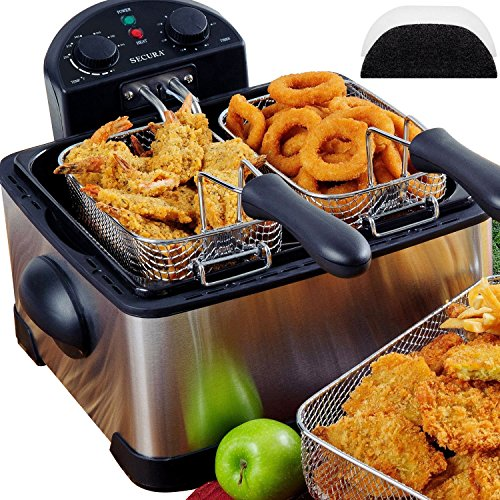 Secura 1700-Watt Stainless-Steel Triple Basket Electric Deep Fryer with Timer Free Extra Odor Filter, 4.2L/17-Cup Review