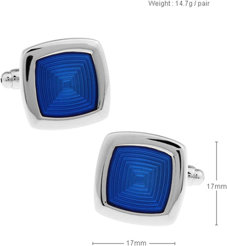 Aeici Gemelo Camisa Gemelos para Camisa Hombre Cuadrado Gemelos Novio Azul: Amazon.es: Joyería