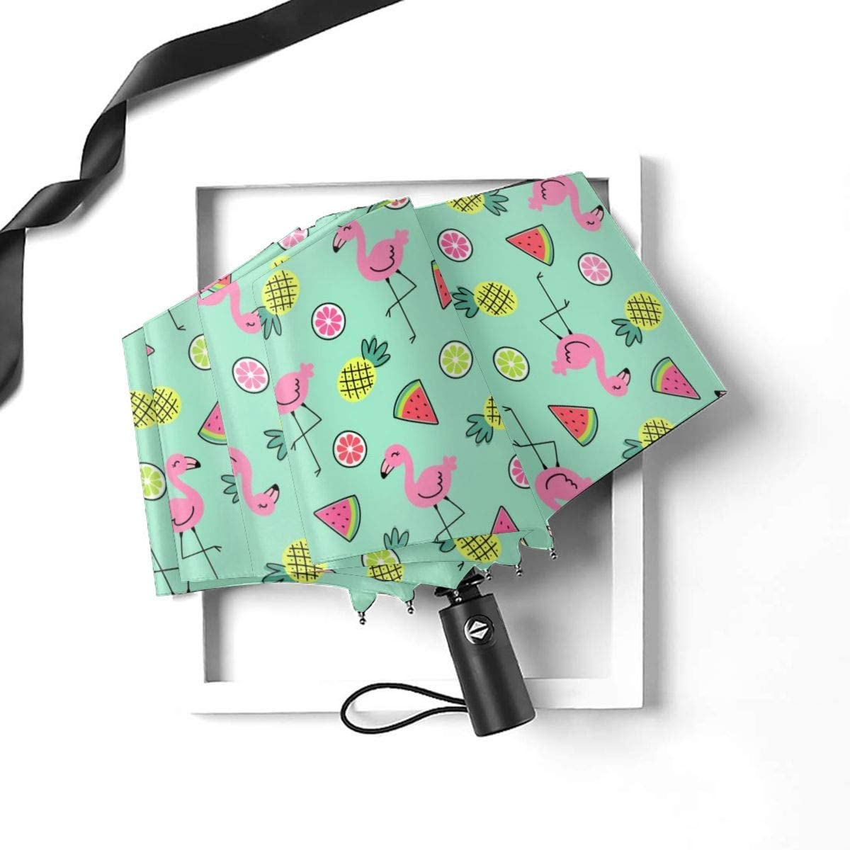 Flamingo And Pineapple Automatic Open Folding Compact Travel Umbrellas For Women