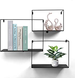 NOZE Metal Intersecting Wall Shelves, Decorative Cube Floating Shelf for Home Decor, Set of 3, Black
