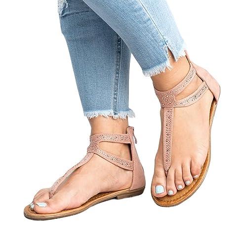 Yying Damen Flach Offene Sandalen Schuhe - Frauen Zehentrenner Flip Flop Sommer Strand Casual Sandalen Peep Toe Römersandalen Rosa 37 tFZYdAv9wZ