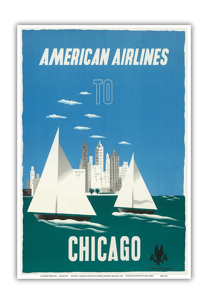 Chicago, Illinois USA - The Windy City, Sailboats, Lake Michigan - American Airlines - Vintage Airline Travel Poster by Edward McKnight-Kauffer c.1948 - Master Art Print - 13in x 19in