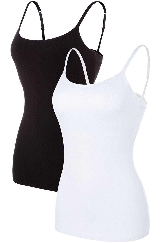 ALove Women Soft Camisoles Basic Cami Tops Shelf Bra Casual Tank Tops 2 Pack Small