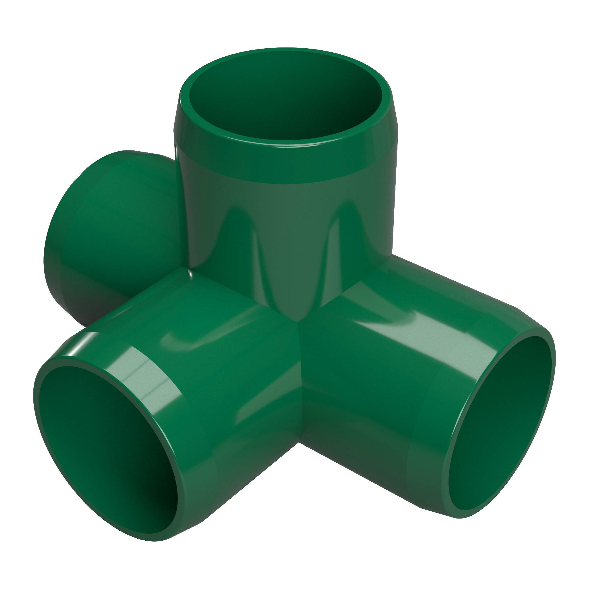 FORMUFIT F0344WT-GR-8 4-Way Tee PVC Fitting, Furniture Grade, 3/4'' Size, Green (Pack of 8)