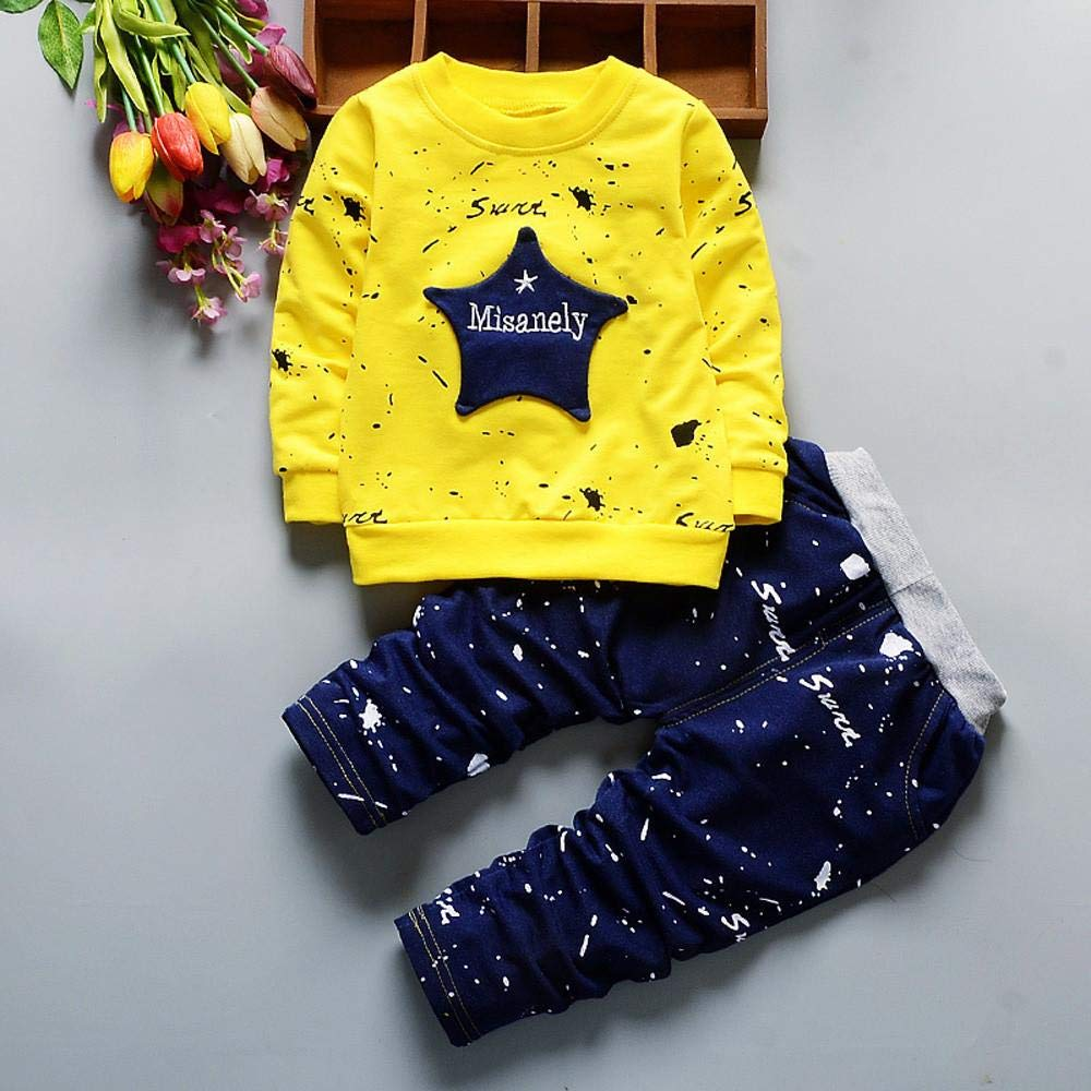 Mbby Tuta Bambina 1-3 Anni Completino Bambino Ragazza E Ragazzi 2 Pezzi Tute Maglietta Stampe Pantaloni Set Caldo Manica Lunga Leggera Antivento