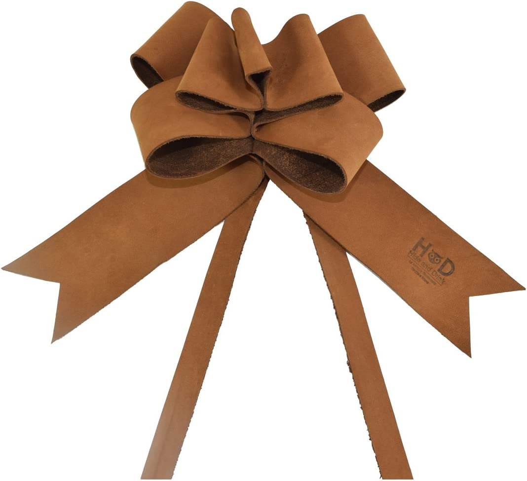 Hide & Drink Rustic Leather Bow Wrap for Christmas / Decor / Gift, Handmade :: Toffee Suede
