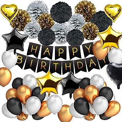 DAYPICKER 63 Pcs Decoración Fiesta Cumpleaños Negro Oro, Juego de Fiesta Que Incluye Feliz Cumpleaños Estandarte Estrella Corazón Globo Papel Poms ...