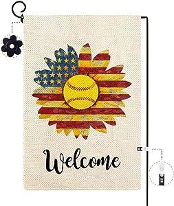 ORTIGIA Samll Welcome Sunflowers Garden Flag Vertical Double Sized Summer Spring Farmhouse Baseball with America Flag Yard Outdoor Decoration,Seasonal Burlap 12.5 x 18 Inch