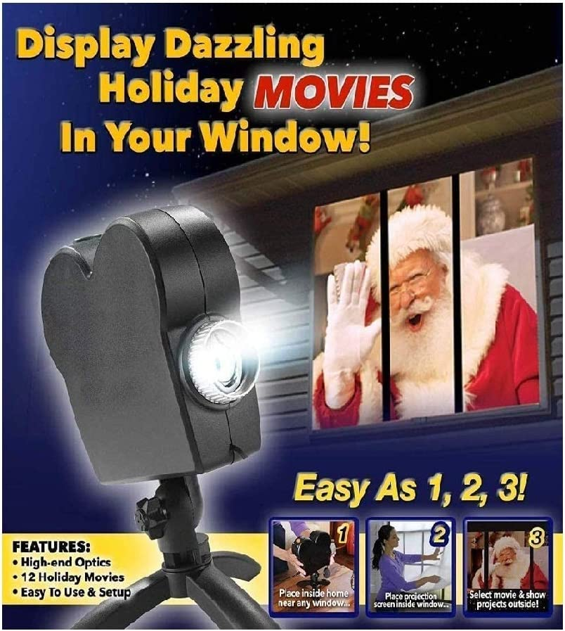 WANGMIN Christmas Halloween Window Projector Light Wall Spotlights, 12 FX Animated Movies Projection, Festival Decoration for Home Outdoor Party Garden, Turns Your Windows into Movie Screens