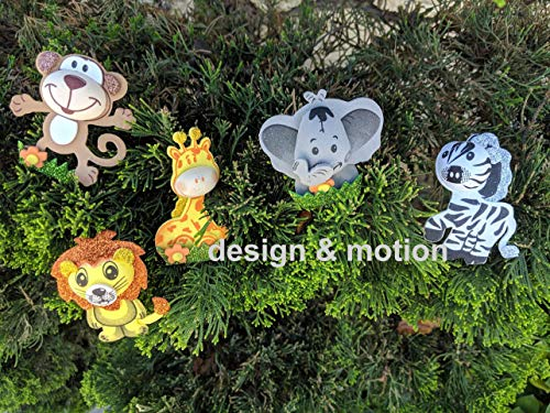 Ooki 10 Piece Safari Jungle Zoo Animals Foam Decorations for Baby Shower Party Circus 3D EVA Nursery Baby Shower, Birthday Parties Gifts DIY Craft (6.5