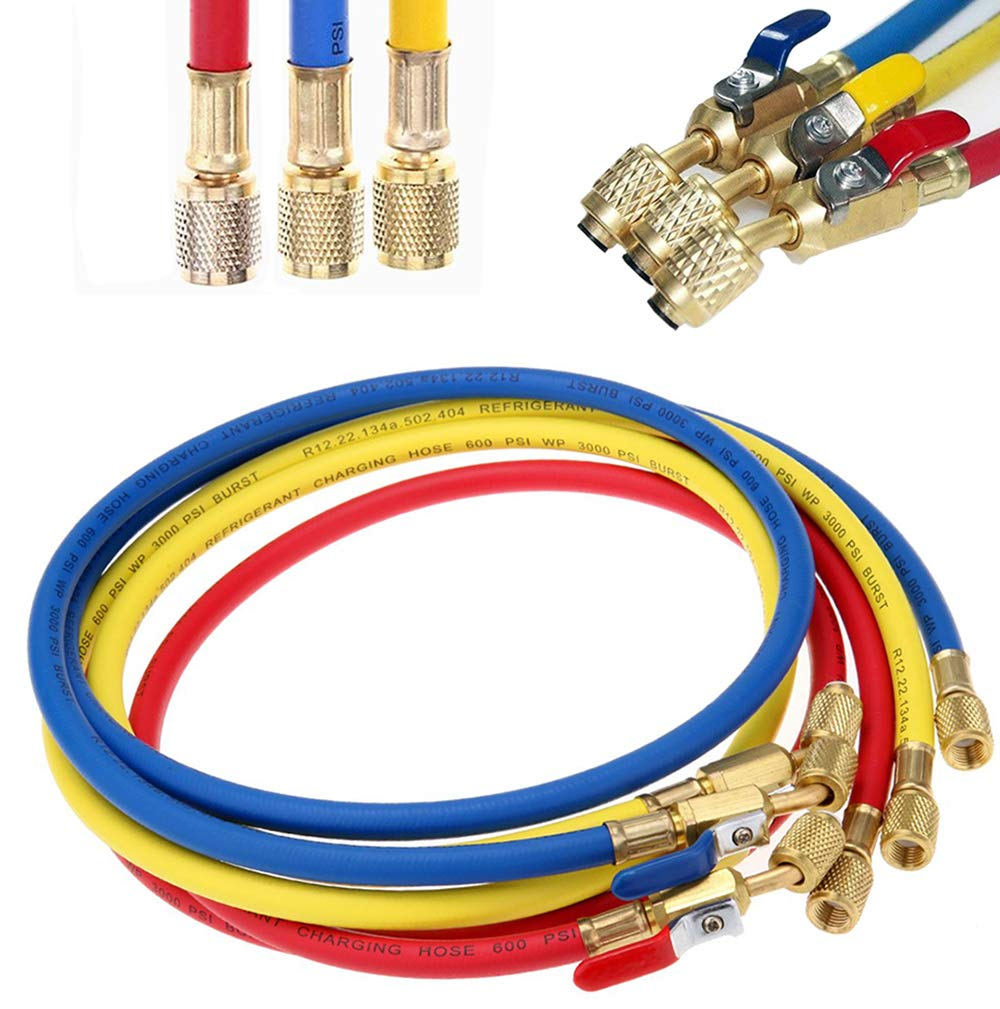 LIYYOO Refrigerant Charging Hose with Ball Valve Apply to R134A R12 R22 R502 R404 Refrigerant Air Conditioning Manifold Gauge 1/4'' Thread Hose Set 60'' Red/Yellow/Blue (Pack of 3)