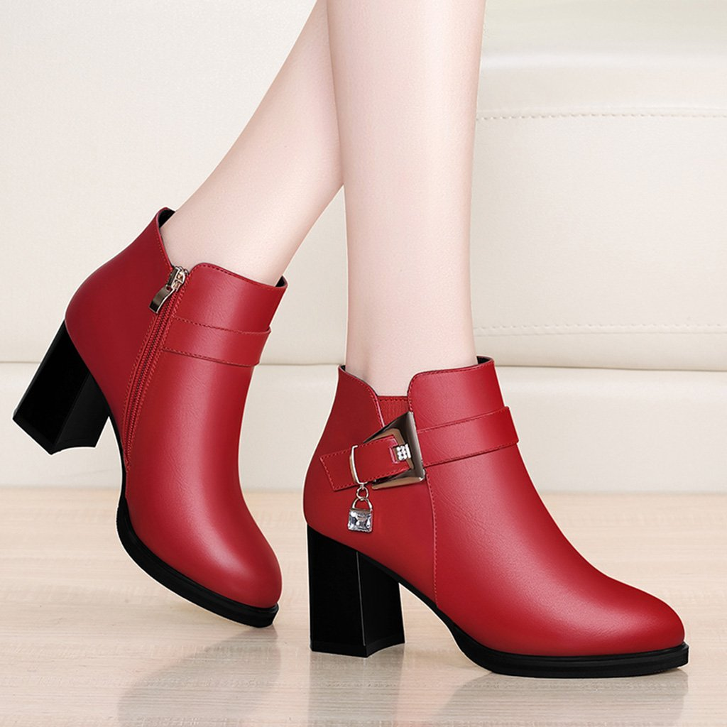 HWF Damenschuhe Damenschuhe Britischen Stil Single Lederschuhe High-heelsed Female Female Female Wedding Schuhes ( Farbe : Rot , größe : 38 ) Rot 56ddba