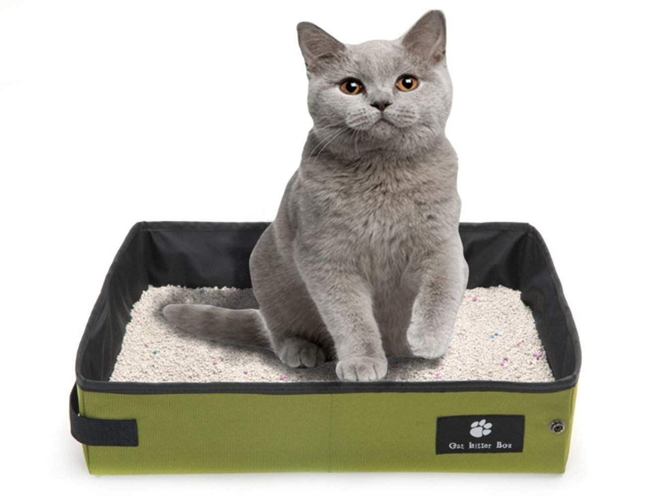M Misyue Portable Cat Litter Carrier Outdoor Collapsible Litter Box Light Weight Soft Foldable Waterproof Pet Cat Easy Cleaning Litter Pan Portable for Travel (M)
