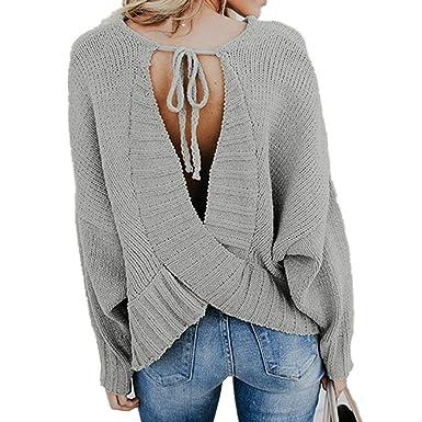 Longra Herbst Winter Pullover Damen Casual V Ausschnitt