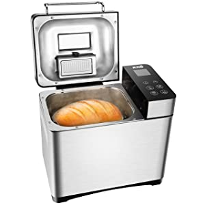 KBS Bread Machine, Automatic 2LB Convection Bread Maker with Nut Dispenser, High-End Version 17 Menus with Gluten Free, Large LCD Display Touch Screen, Unique Ceramic Pan, Stainless Steel