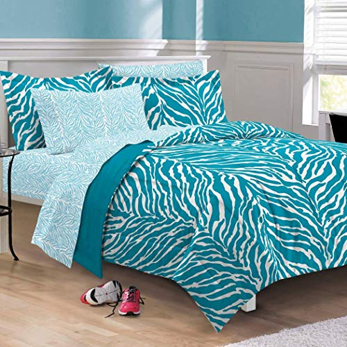 5 Piece Girls Aqua Zebra Themed Comforter Twin XL Set, Stylish All Over Zoo Animal Jungle Print Bedding, Girly Multi African Safari Animals Exotic Wildlife Pattern, Blue Turquoise White Black ()