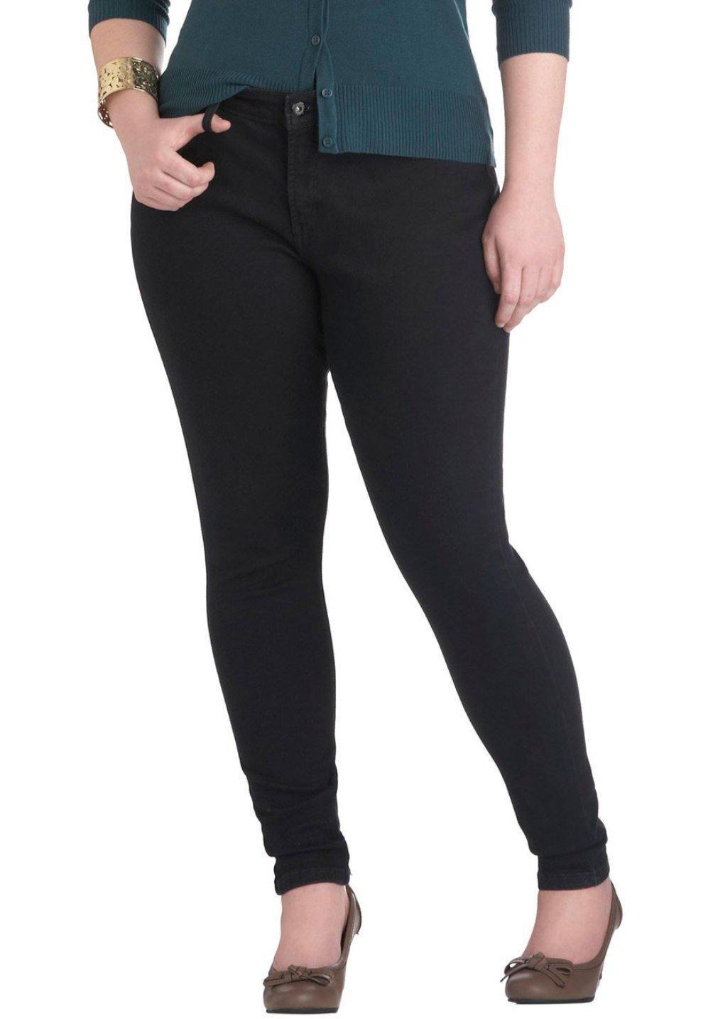 NEW 1826 PONTI HIGH WAIST WOMENS PLUS SIZE SKINNY LEG size - 14-16-18-20-22 (PL2676) (16, BLACK)
