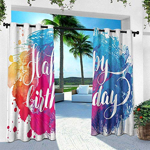 Birthday, for Patio Light Block Heat Out Water Proof Drape,Watercolor Splash Painting Artwork with Birthday Message Hand Written Art Print, W96 x L96 Inch, Multicolor