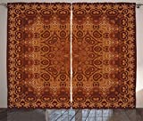 Ambesonne Antique Decor Curtains, Vintage Lacy Persian Arabic Pattern from Ottoman Empire Palace Carpet Style Artprint, Living Room Bedroom Decor, 2 Panel Set, 108 W X 84 L Inches, Orange Brown Review