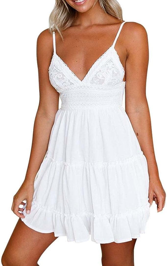 Mini Vestido sin Espalda Mujeres Tops Blusa de Verano Vestido de Noche Blanco Vestidos Fiesta de Playa Xinantime: Amazon.es: Ropa y accesorios