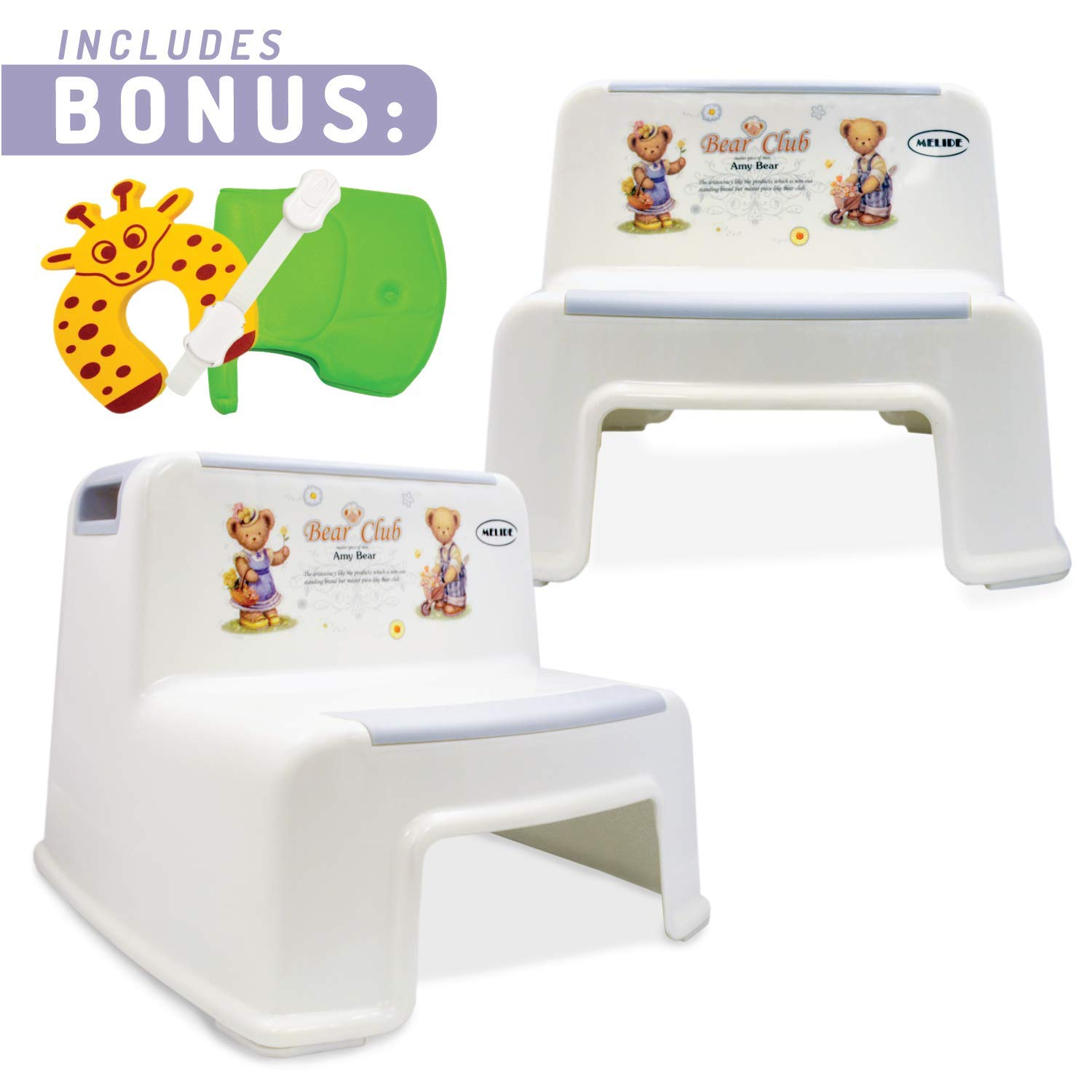 2 Step Stool For Kids (2 Pack)| Toddler Stool For Toilet and Potty Training with Slip Resistant and Soft Grip For Comfort | Dual Height and Wide Steps For Use in the Bathroom and Kitchen By MeliDe by MELIDE