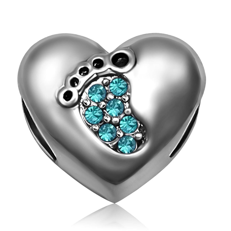 JMQJewelry Heart Love Baby Footprints Jan-Dec Birthstone Crystal Dangle Charm Beads for European Charm Bracelets