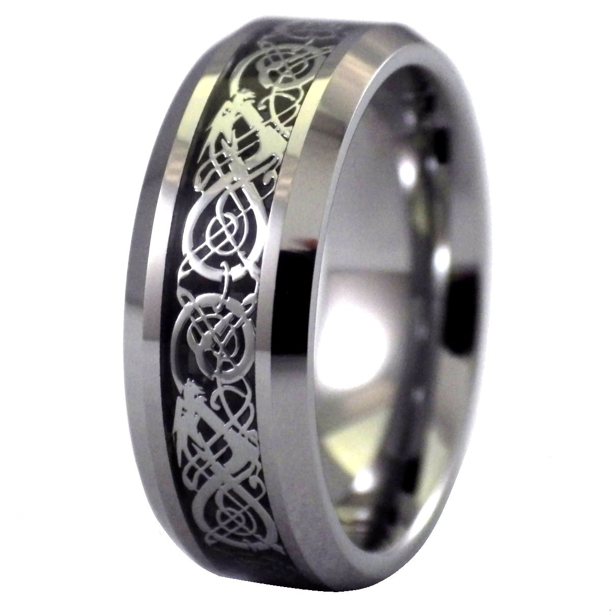 Tungsten Celtic Dragon Ring Black Wedding Band Viking Jewelry Size 9.5