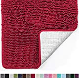 Shower Curtains with Red in Them Gorilla Grip Original Luxury Chenille Bathroom Rug Mat (44 x 26), Extra Soft and Absorbent Large Shaggy Rugs, Machine Wash/Dry, Perfect Plush Carpet Mats for Tub, Shower, and Bath Room (Red)